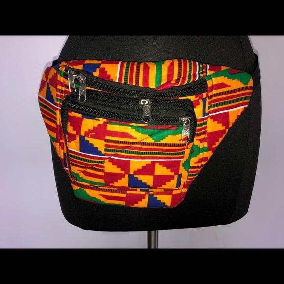 African Fabric Kente and Vegan Leather Flat Fanny Hip Waist Pack Handmade